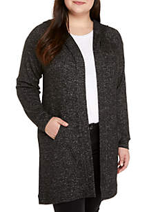Plus Size Hooded Hacci Cardigan
