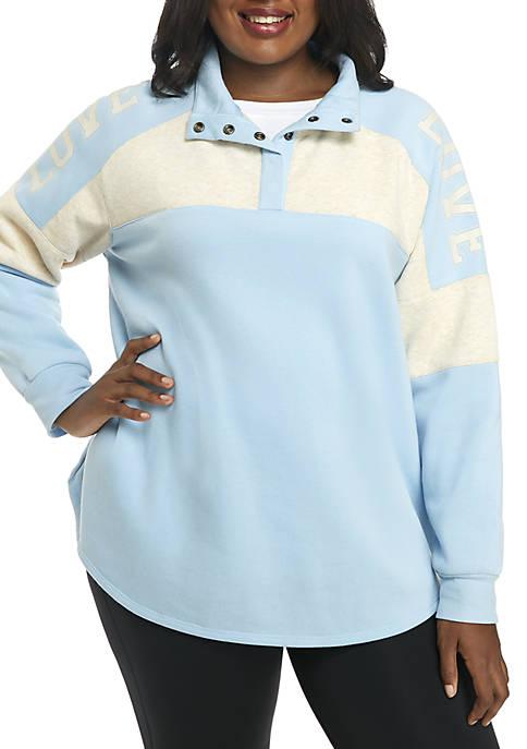 Belle du Jour Plus Size Quarter-Snap Love Pullover