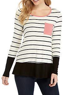 Long Sleeve Black and White Stripe Top