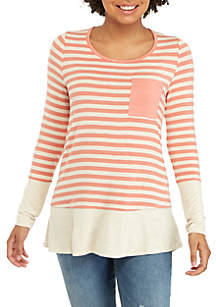 Long Sleeve Pink and Oat Stripe Top