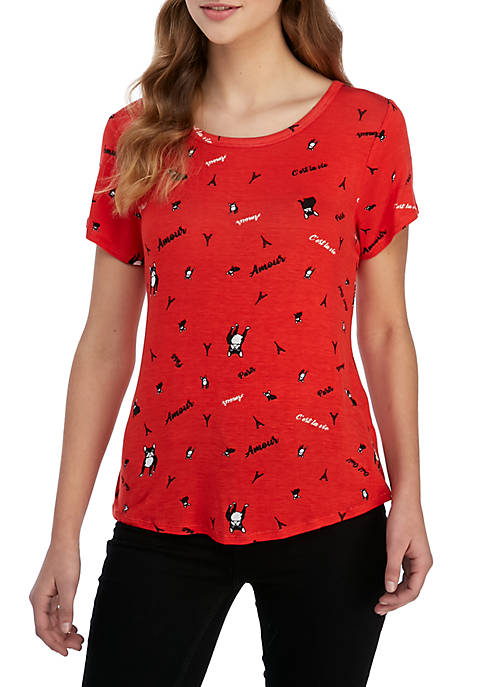 Belle du Jour Short Sleeve Red Frenchie Graphic