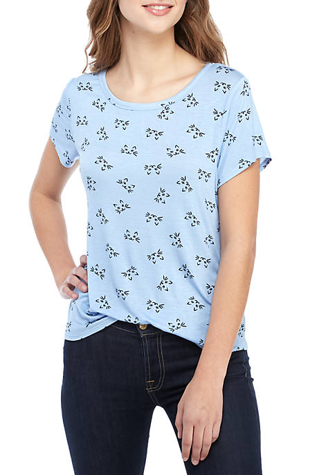 Belle du Jour Short Sleeve Blue Cats Graphic