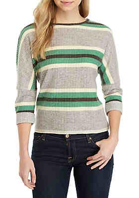 6b9592fe169 Belle du Jour 3 4 Sleeve Striped Waffle Sweater ...