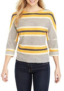 Belle du Jour 3/4 Sleeve Striped Waffle Sweater