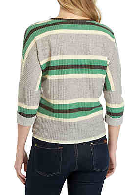fe03d0ef6e0 ... Belle du Jour 3 4 Sleeve Striped Waffle Sweater