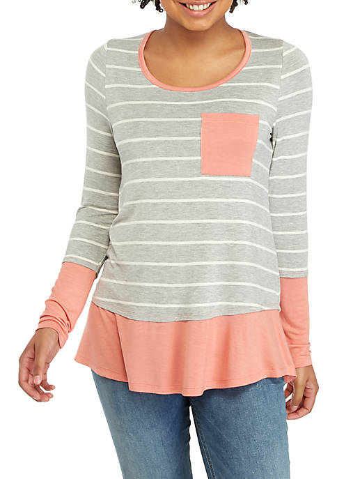 Belle du Jour Long Sleeve Stripe Pink and