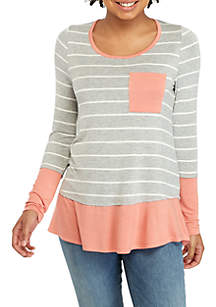 Long Sleeve Stripe Pink and Grey Top