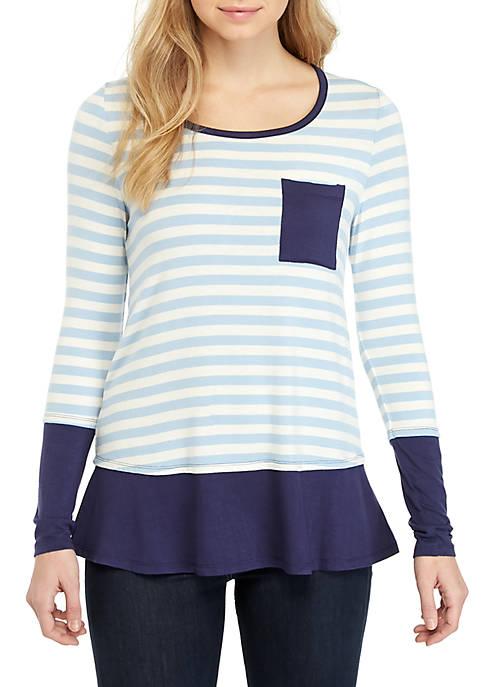 Belle du Jour Long Sleeve Blue Stripe Top