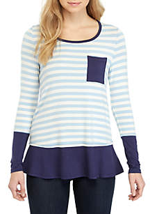 Long Sleeve Blue Stripe Top