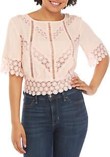 Belle du Jour Short Sleeve Lace Detail Back Tie Top