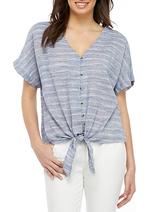 Belle du Jour Short Sleeve Button Front Linen