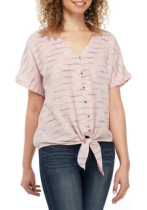 Belle du Jour Short Sleeve Button Front Linen