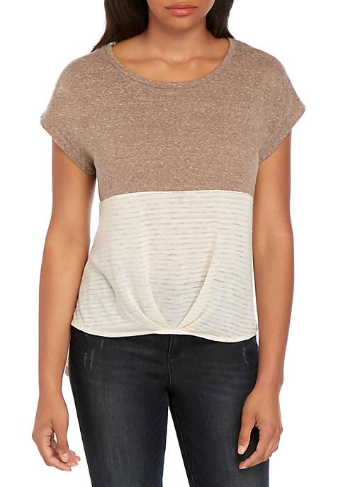 Belle du Jour Short Sleeve Color Block Textured