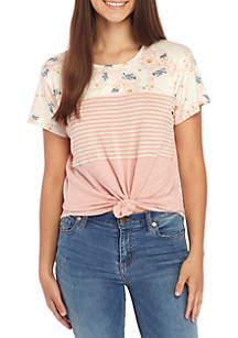 Belle du Jour Short Sleeve Multi Floral Stripe Top