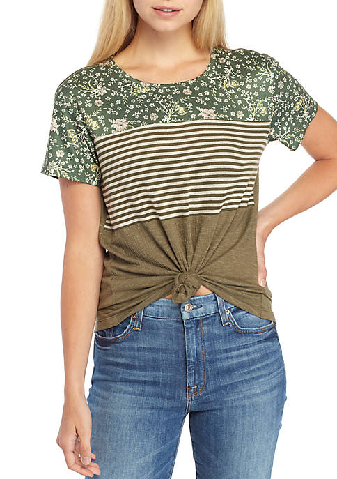 Short Sleeve Multi Floral Stripe Top