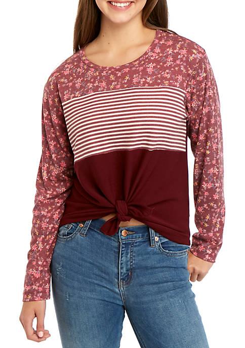 Long Sleeve Pattern Block Twist Front Pullover