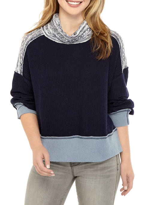 Belle du Jour Juniors Mixed Media Cowl Neck