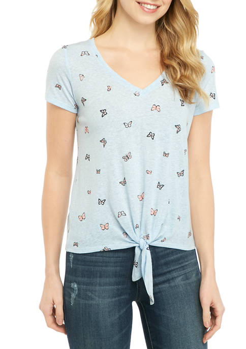 Juniors Conversational Butterfly V Neck Tie Front Top