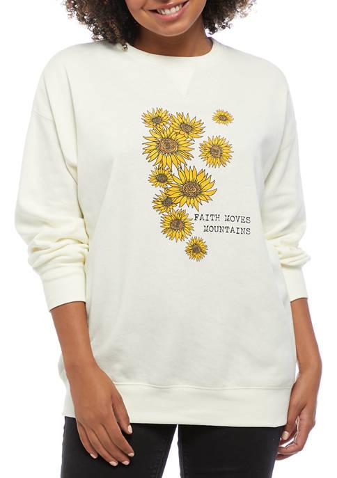 Belle du Jour Juniors Fleece Sunflower Graphic Pullover