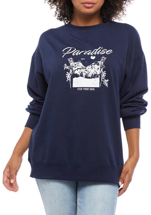 Belle du Jour Juniors Fleece Paradise Graphic Pullover