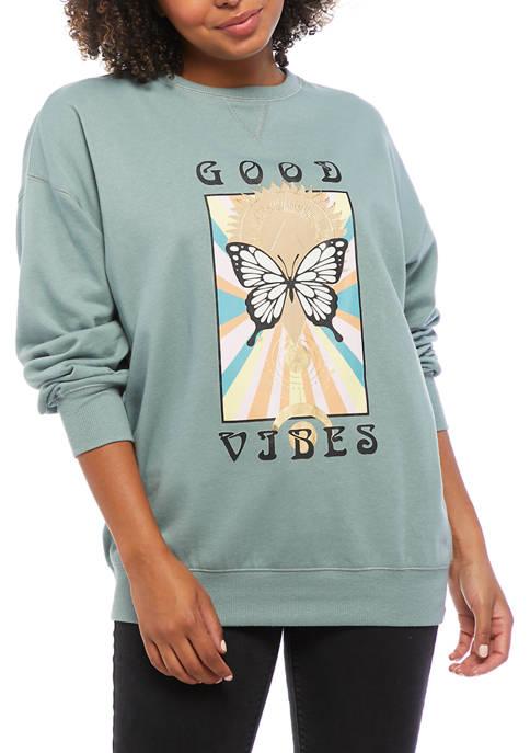 Belle du Jour Juniors Fleece Good Vibes Butterfly