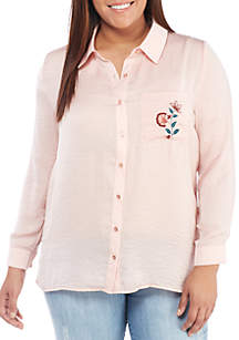 Plus Size Embroidered Pajama Shirt