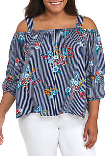Plus Size Cold Shoulder Stripe Floral Top