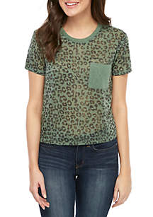 Self Esteem Short Sleeve Leopard Pocket Tee