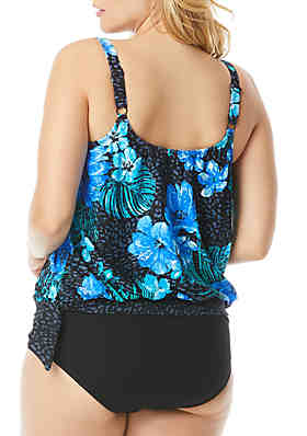 df4e70aca9 ... Beach House Plus Size Off Tropic Sarah Side Tie Blouson Tankini Swim Top