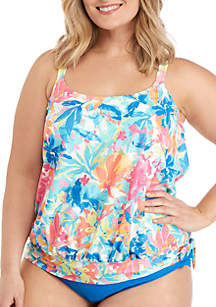 612a9c4b5d ... Beach House Plus Size Splash Down Sarah Side Tie Blouson Swim Top