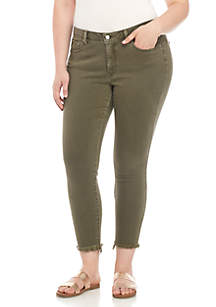 Plus Size Lolita Skinny Jeans with Split Hem