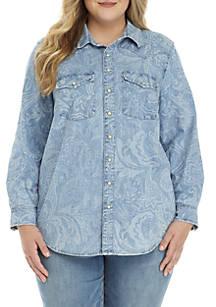 6b62119c68cc3 Lucky Brand. Lucky Brand Plus Size Paisley Western Shirt