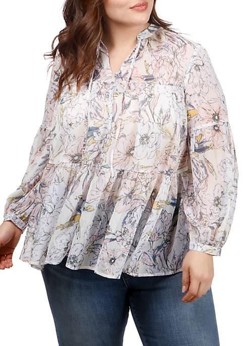 Plus Size Floral Printed Peasant Top