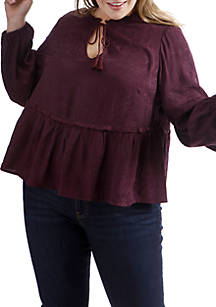 723f90c090c Lucky Brand. Lucky Brand Plus Size Jaquard Peasant Top