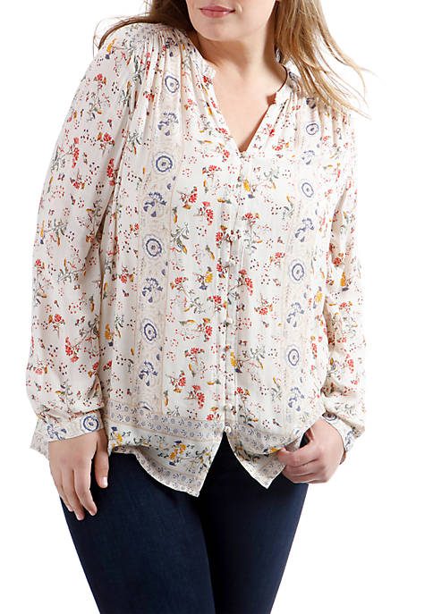 Lucky Brand Plus Size Printed Peasant Ruffle Top
