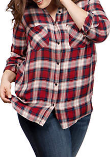 Plus Size Boyfriend Plaid Woven Top
