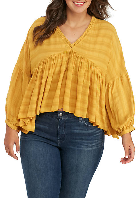 Lucky Brand Plus Size Romantic Ruffle Peasant Top