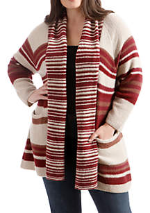 Plus Size Striped Multi Cardigan
