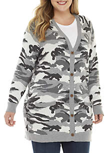 Button Front Camo Cardigan