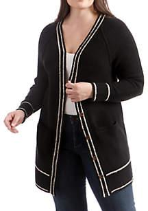 Plus Size Button Front Cardigan
