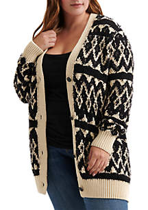 Plus Size Diamond Fair Isle Cardigan