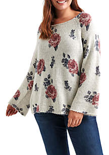 Plus Size Floral Pullover Sweater