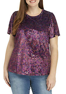 Plus Size Printed Velvet Top