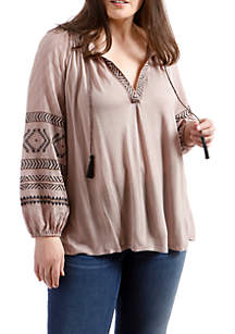 Plus Size Embroidered Print Peasant Top