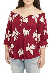 Plus Size Floral Printed Off-the-Shoulder Top
