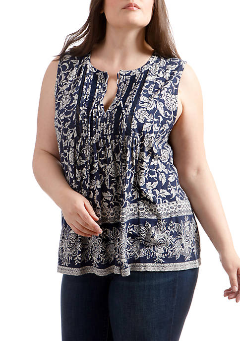 Lucky Brand Plus Size Sleeveless V-Neck Lace Mix