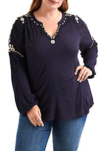 Plus Size Embroidered Sleeve Top