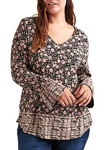 Plus Size Border Print Cinched Sleeve Top