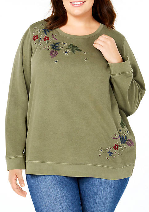 Lucky Brand Plus Size Floral Embroidered Pullover Sweatshirt