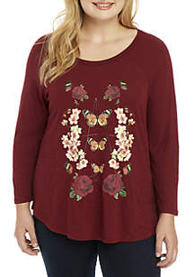 Plus Size Allover Butterfly Tee